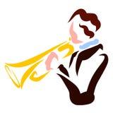 Giovane uomo della tromba, musicista, modello variopinto, logo illustrazione di stock