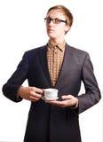 Giovane uomo di affari in vestito con la tazza Fotografia Stock Libera da Diritti