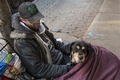 Giovane uomo senza tetto e suo il cane che si trovano sul marciapiede in sacco a pelo immagini stock libere da diritti