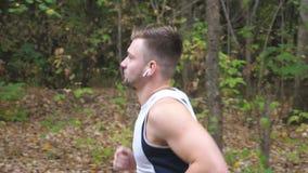 Giovane uomo sportivo che corre lungo la traccia vicino alla foresta all'autunno in anticipo Sportivo bello con le cuffie senza f archivi video