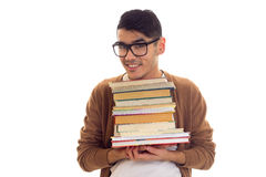 Giovane in vetri con i libri Fotografie Stock Libere da Diritti