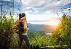 Giovane viaggiatore con zaino e sacco a pelo che viaggia lungo le montagne verdi su alba Immagine Stock Libera da Diritti