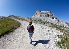 Giovane viandante che cammina su una traccia di montagna. Fotografia Stock
