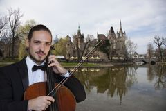 Giovane violoncellista che gioca il violoncello immagine stock libera da diritti