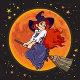 Giovane volo della strega del fumetto sveglio sul bastone della scopa sul fondo della luna piena Vettore illustrazione vettoriale