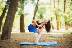 Giovane yoga dei professionisti della donna di yoga sulla natura fiore della sfuocatura della priorità bassa all'interno come gli Immagini Stock