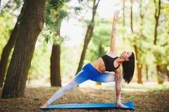 Giovane yoga dei professionisti della donna di yoga sulla natura fiore della sfuocatura della priorità bassa all'interno come gli Fotografie Stock Libere da Diritti