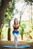 Giovane yoga dei professionisti della donna di yoga sulla natura fiore della sfuocatura della priorità bassa all'interno come gli Immagini Stock Libere da Diritti