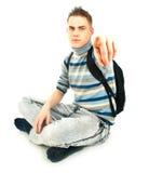 Giovani, allievo maschio attraente con lo zaino Fotografia Stock