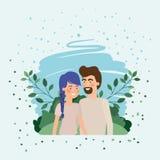 Giovani amanti delle coppie nel campo illustrazione vettoriale
