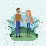 Giovani amanti delle coppie nel campo royalty illustrazione gratis