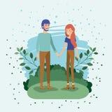 Giovani amanti delle coppie nel campo illustrazione di stock