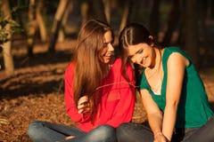 Giovani amiche che giocano su una sosta Fotografia Stock