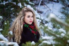 Giovani attraenti irl sulla neve all'aperto Fotografie Stock Libere da Diritti