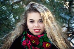 Giovani attraenti irl sulla neve all'aperto Fotografia Stock