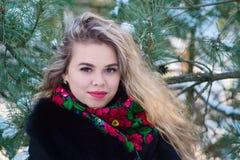 Giovani attraenti irl sulla neve all'aperto Fotografia Stock Libera da Diritti