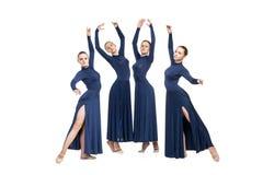 Giovani ballerini che ballano sopra il backgroud bianco Fotografia Stock