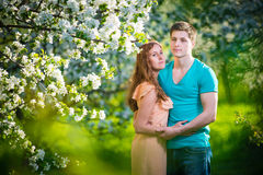 Giovani belle coppie nell'amore fra di melo Immagini Stock Libere da Diritti