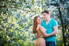 Giovani belle coppie nell'amore fra di melo Fotografia Stock