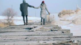 Giovani belle coppie in un cappotto, passeggiate sul ponte delle plance, intorno alla neve stock footage