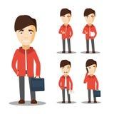 Giovani caratteri dello studente Uomo allegro Vettore Fotografia Stock