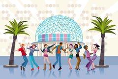 Giovani che ballano in un club Fotografia Stock