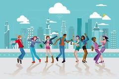 Giovani che ballano in una città illustrazione di stock