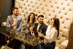 Giovani che celebrano e che tostano con il vino bianco Immagine Stock Libera da Diritti