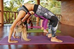Giovani che fanno yoga di Chakrasana Immagine Stock