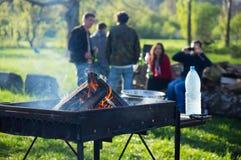 Giovani che hanno barbecue fuori nel giardino Fotografia Stock