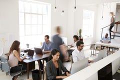 Giovani colleghi di affari che lavorano in un ufficio open space occupato fotografie stock
