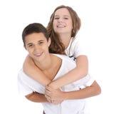 Giovani coppie adolescenti affettuose Fotografia Stock