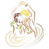 Giovani coppie adorabili di dancing, magia del ballo ed amore illustrazione vettoriale