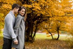Giovani coppie adorabili nella foresta di autunno Immagini Stock