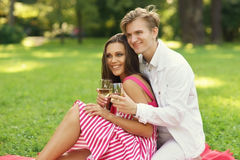 Giovani coppie al picnic Fotografie Stock