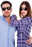 Giovani coppie alla moda nell'azione Fotografie Stock