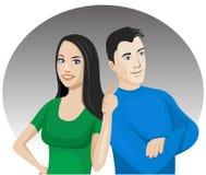 Giovani coppie allegre illustrazione di stock