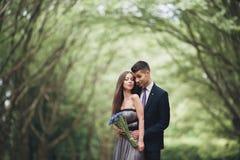Giovani coppie belle che posano all'aperto dopo la cerimonia Fotografia Stock Libera da Diritti