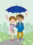 Giovani coppie che camminano nella città piovosa illustrazione vettoriale