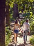 Giovani coppie che camminano nella foresta fotografia stock libera da diritti