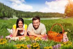 Giovani coppie che hanno picnic Fotografie Stock Libere da Diritti