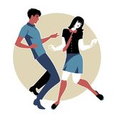 Giovani coppie che indossano i retro vestiti 60s, stile nordico ballante del MOD o di anima Fotografie Stock Libere da Diritti