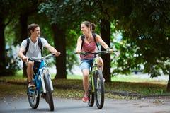 Giovani, coppie con le biciclette nel parco Fotografia Stock