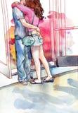 Giovani amanti delle coppie che baciano e che abbracciano acquerello Fotografia Stock