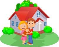 Giovani coppie del fumetto con il figlio neonato davanti alla casa royalty illustrazione gratis