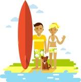 Giovani coppie dell'uomo e della donna del surfista con il surf Fotografia Stock
