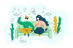 Giovani coppie della famiglia che indossano la cuffia avricolare e sguardo di VR al pesce subacqueo - concetto virtuale di vetro  illustrazione vettoriale