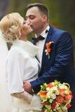 Giovani coppie di nozze, bella sposa con il ritratto dello sposo sul Immagini Stock Libere da Diritti