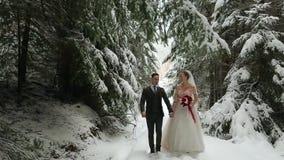 Giovani coppie di nozze tenersi per mano che camminano, sorridere e di conversazione nella foresta nevosa durante le precipitazio archivi video