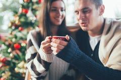 Giovani coppie felici che godono in caffè immagine stock